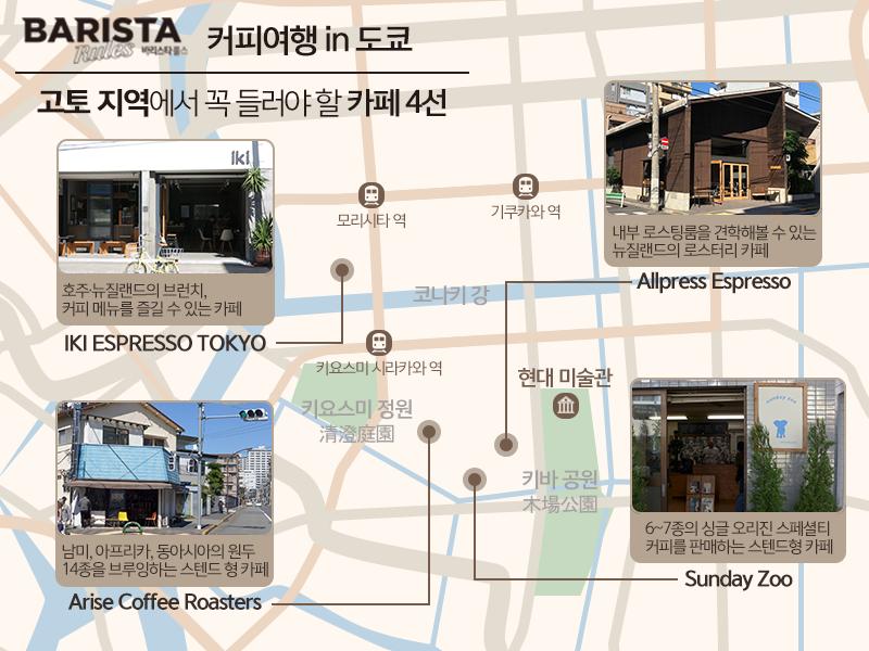 바리스타룰스 커피여행 도쿄카페 지도