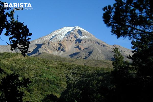 푸에블라와 베라크르주 주 접경지에 위치한 스트라토 화산(strato volcano)
